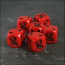 NEW Set of 6 Dragon RED Dice D&D RPG Game 16mm Six Sided D6