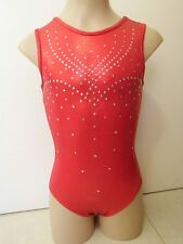 NEW RED SHINY Adult XS 56cm Girls 12 Gymnastics Dance Ballet Fancy Gym Leotard