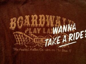 Vintage Style Distressed BOARDWALK ROLLER COASTER PARK Wanna Ride LARGE T SHIRT