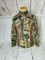 Break Up Mossy Oak Women's Brown Camo Pink Trim Fleece 3/4 Zip Jacket Size S