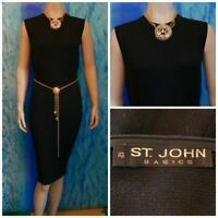ST. JOHN Basics Sanatna Knit Black Dress L 12 14 Sleeveless Sheath LBD