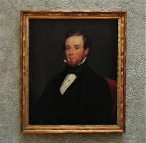 19th c. Portrait Painting Man Gentleman Male Oil on Canvas Victorian Antique
