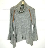 THML Cowl Neck Sweater Ruffle Asymmetric Bottom Gray Women's LARGE EUC