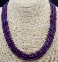 """3 STRAND Natural 2x4mm AMETHYST FACETED GEMS BEADS NECKLACE 17-19"""" AAA"""
