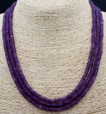 "Natural 2x4mm NATURAL AMETHYST FACETED GEMS BEADS NECKLACE 3 STRAND 17-19""AAA"
