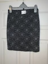 H&M Ladies Girls Black Silver Stretch Party Skirt-Size XS / 8 RRP £12.99 ⭐️New⭐️