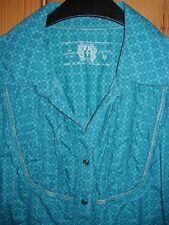 EDC by ESPRIT Damen Bluse T- Shirt Tunika, Gr. M 38, grün blau petrol m. Rüschen