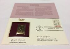 James Thurber American Humorist Stamp Sept 10, 1994 FDC and 22kt gold replica