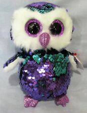 """MOONLIGHT - PURPLE OWL - Ty FLIPPABLES Sequin Beanie 6"""" Boos  NEW with MINT TAGS"""