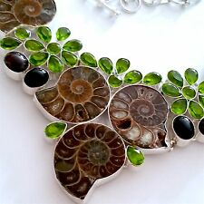 =BEAUTIFUL 925 SILVER NATURAL FOSSIL/ONYX/PERIDOT/GARNET NECKLACE