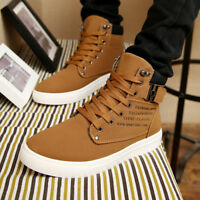 Mens Casual Shoes Canvas Oxfords High Top Leather Shoes Sneakers Fashion New