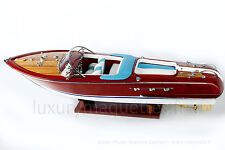 "MODEL Riva AQUARAMA Speed Boat 27"" White Seats- Wooden Model Boat High quality"