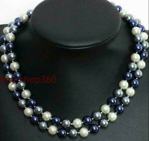 """Beautiful 8mm 10mm Multicolor South Sea Shell Pearl Necklace 35"""" AAA"""