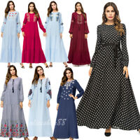 Dubai Abaya Muslim Embroidery Women Dress Cocktail Maxi Kaftan Loose Robe Jilbab