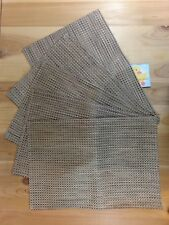 "PLACEMATS Set of 5 BROWN BLACK Woven Pattern 19"" x 13"" Rectangle Plastic"