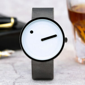 PAIDU Round Dia Mesh Stainless Steel Band Men Women Business Quartz Wrist Watch