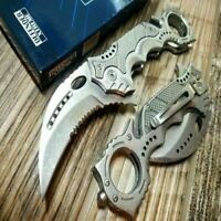 8.5' Silver KARAMBIT SPRING ASSISTED POCKET KNIFE Tactical Open Folding 3CR13SS