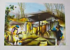 "RAYMOND POULET ""THRESHING"" Hand Signed Limited Edition Lithograph WHEAT GRAIN"