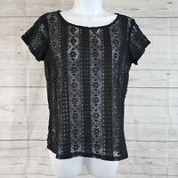 Ann Taylor LOFT Womens Lace Top Sz Small Petite Black Floral Short Sleeve