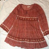 Womans Taylor & Sage Tunic Shirt Boho casual lace up Tunic Burnt orange Lined Sz