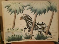 Rare  Lithograph Shirrell Graves Watercolor Airbrush ZEBRA Large Signed # 853