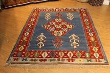 kILIM TURKISH GEOMETRIC RUG 5' x 7' 100% wool Navajo design handmade hand woven