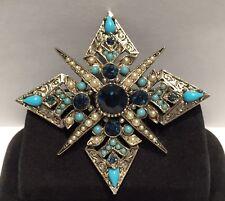 Vtg Coro Pegasus Turquoise Lucite & Dark Blue Rhinestone Maltese Cross Brooch