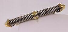 "Vintage sterling silver & 14k yellow gold David Yurman Cable Bar Pin, 2"""