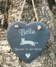 Personalised Engraved Slate Heart Pet Memorial Grave Marker Hanging Plaque Cat