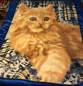 The Northwest Company Greg Cuddiford Kitten On A Quilt Cat Plush Throw Blanket