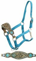 Western Horse Bronc Halter Turquoise Nylon with Fancy Tooled Leather Nose Band