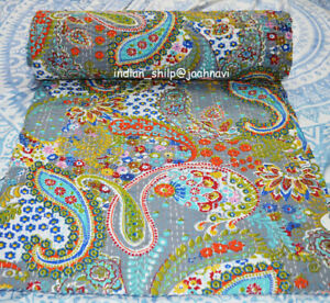 Paisley Print 100%Cotton Indian Ethnic Twin Size Kantha Quilt Bedspread Coverlet