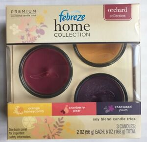 FEBREZE Home Collection Set of 3 Soy CANDLES New SHIP FREE Orchard Collection