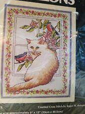 Monarch Horizons Counted Cross Stitch Kit Cat Kitten Kitty GREEN EYES Birds NICE