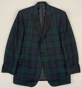 robert talbott monterey tartan wool blackwatch tuxedo dinner jacket 44 long
