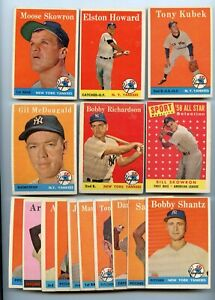 LOT OF (16) DIFFERENT 1958 TOPPS NEW YORK YANKEES CARDS SKOWRON KUBEK RICHARDSON