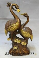 "15"" Marked Bronze Gilt propitious RuYi 2 Love Red-Crowned Crane Bird Statue"