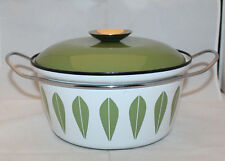 "Cathrineholm Lotus Green Enamel Dutch Oven Casserole Handle 22cm 8.5"" Norway"