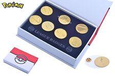 Anime Pokemon Go Battle Frontier Symbols Set (Iron, Gold) Badge Pins+Box Gift
