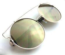 3c4dd2ecb4f XXL BIG TECHNO FLAT LENS Round Metal Oversized Mirror Lens Women Sunglasses