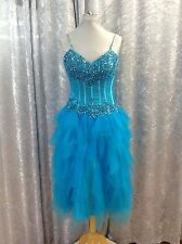 BRIDESMAID DRESS - TORQUOSE BEADED/SEQUINED SATIN  SHORT DRESS-SIZE 8