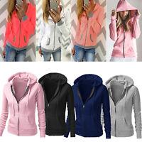 Women's Hooded Sweatshirt Jacket Coat Tops Hoodie Sport Pullover Zip Up Outwear