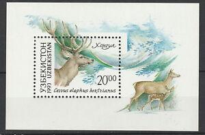 Uzbekistan 1993 Fauna Animals Deer MNH Block