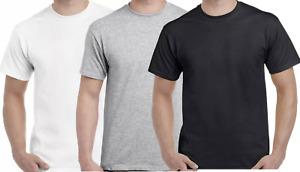 Mens Plain T Shirt Cotton Short Sleeves Summer Tee Crew Neck Top Shirts Blank
