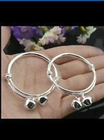 1pc BABY SILVER CHRISTENING BANGLE BRACELET ADJUSTABLE BOY GIRL 0-6 YEAR GIFT BG