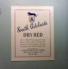 VINTAGE AUST SPIRITS LABEL. BASEDOW WINES, TANUNDA. SOUTH ADELAIDE DRY RED