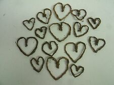 """Lot of 15 Mini Grapevine Twig Heart Wreaths - 1-2"""" Primitive Rustic craft supply"""