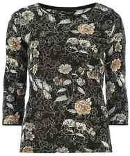 Ladies DP Fine Knit Embellished Black Jumper Floral Top T-shirt 8-18 RRP £22