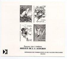 FRANCE epreuve de la série des 4 timbres Oiseaux de Audubon de 1995