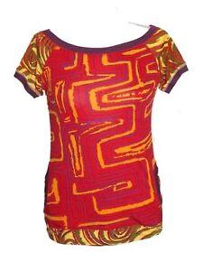 Sambalou - Womens M - Red/Yellow Retro Abstract Print Logo Tee - Pockets